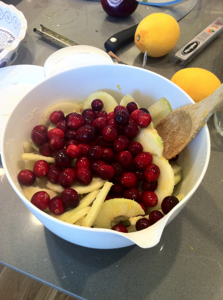 Mixing up cranberries, apples and orange zest.