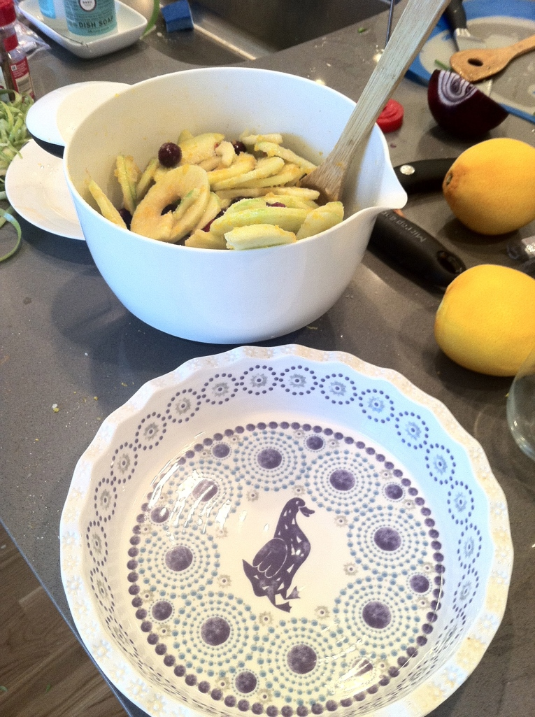 Mostly a gratuitous shot of my pretty pie plate from Anthropologie....