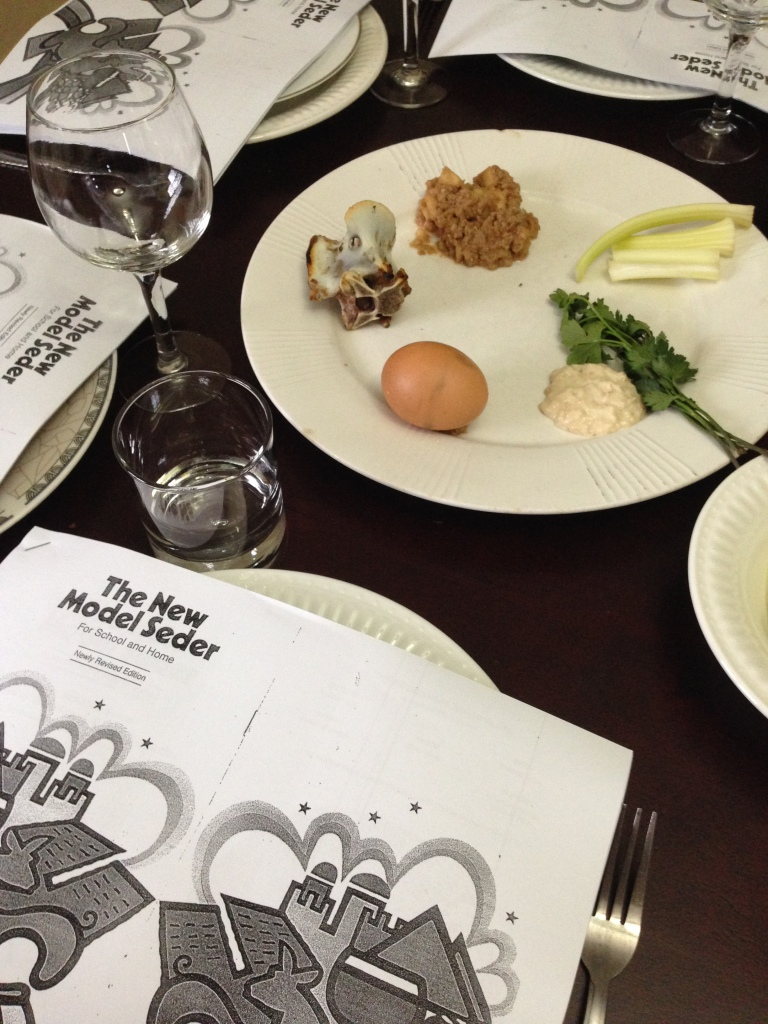 A picture of our seder plate and haggadah.
